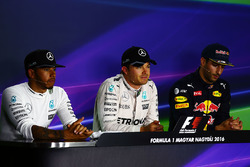 The FIA Press Conference qualifying top three: second place Lewis Hamilton, Mercedes AMG F1, polesitter Nico Rosberg, Mercedes AMG F1, third place Daniel Ricciardo, Red Bull Racing