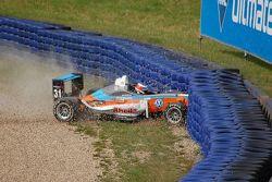 Johan Jokinen crashes, F3 Euro Series Oschersleben 2009