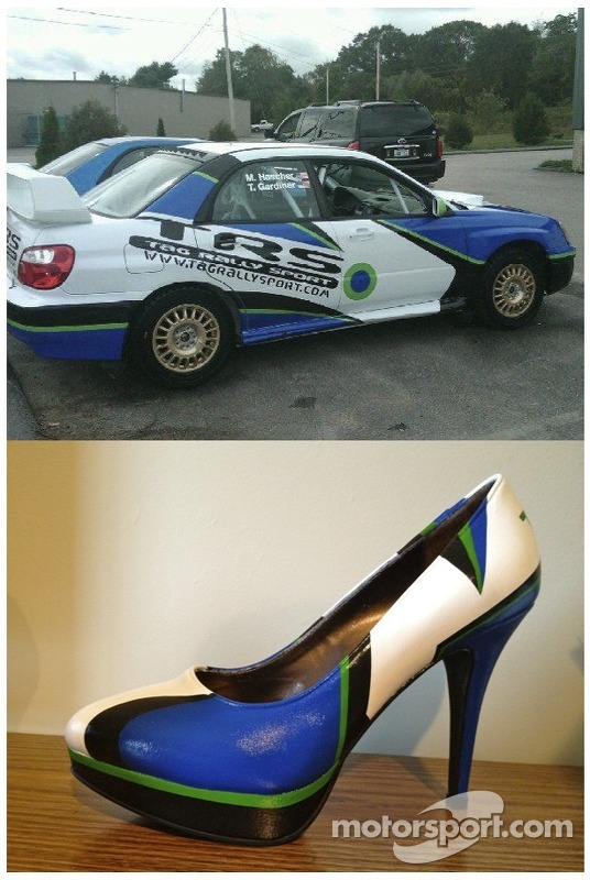 Traceys shoes match her cars