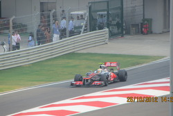 Hamilton exiting the pits at the BIC