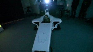Cyndie Allemann tries race sim