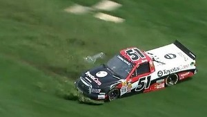 Kyle Busch spins into the grass