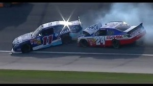 NASCAR Crash   Elliot Sadler and Brett Butler make contact at Chicagoland (2013)