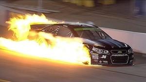 Reed Sorenson Huge Fire - Richmond - 2014 NASCAR Sprint Cup