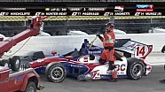 Mikhail Aleshin and Takuma Sato crash during the Iowa race