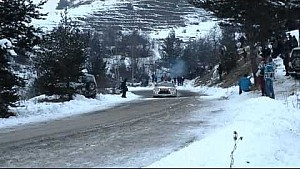 Sébastien Loeb crashes during the SS8 at the Rallye Monte Carlo