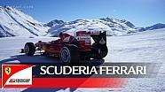 Caminando en la nieve-Scuderia Ferrari en Livigno.