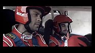Gaurav Gill and cricketer Virat Kohli drive the rally car