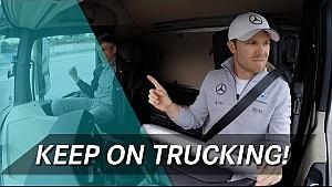 روزبرغ وهلكنبرغ وفيرلاين يشاركون في تحدي قيادة الشاحنة