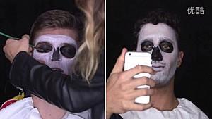 丹尼尔·里卡多和马克斯·维斯塔潘万圣节妆容化妆过程