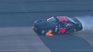 Harmon's car catches fire during qualifying