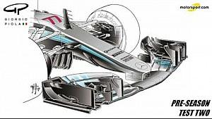 Giorgio Piola技术分析-梅赛德斯W08赛车前翼及刹车通风管变化