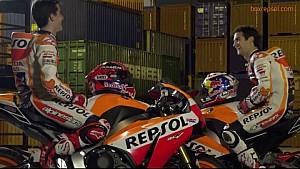 Los pilotos de Repsol Honda, actores por un día