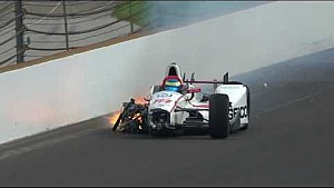Авария Себастьена Бурдэ в ходе квалификации Инди 500