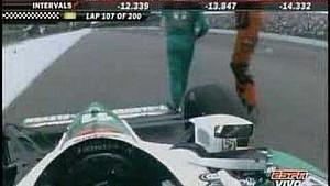 Авария Тони Канаана и Сары Фишер в Indy 500 2008 года
