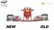 Changements à l'aileron avant des Ferrari en Autriche