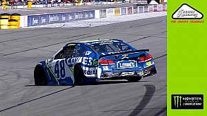 Johnson spins out, incurs heavy damage after contact with Kahne