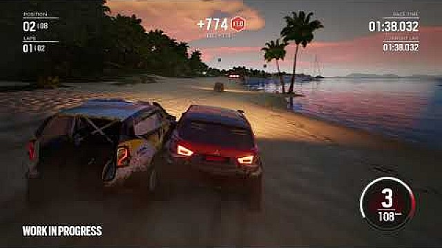 Gameplay de Gravel en una playa